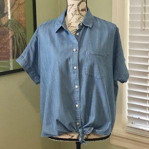 Madewell Denim short-sleeve tie-front shirt